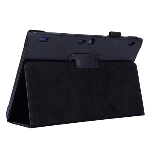 Litchi Texture 2 Folding Leather Tablet Case for Lenovo Tab 2 A10-70 (Black)
