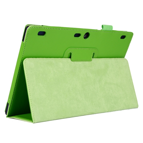 Litchi Texture 2 Folding Leather Tablet Case for Lenovo Tab 2 A10-70 (Green)