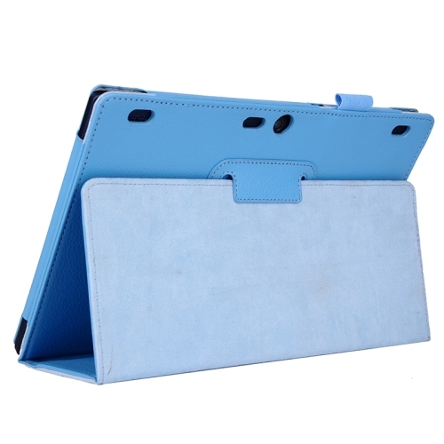 Litchi Texture 2 Folding Leather Tablet Case for Lenovo Tab 2 A10-70 (Blue)