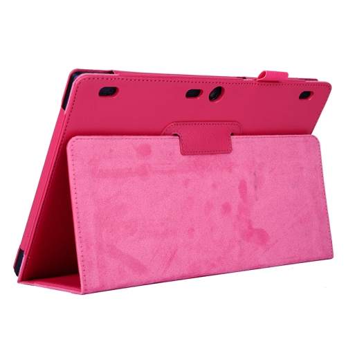 Litchi Texture 2 Folding Leather Tablet Case for Lenovo Tab 2 A10-70 (Rose)