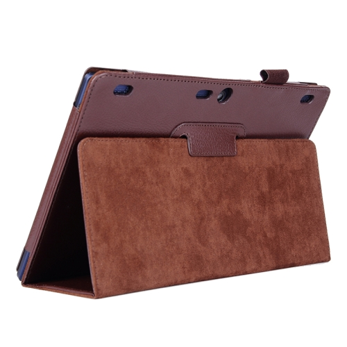 Litchi Texture 2 Folding Leather Tablet Case for Lenovo Tab 2 A10-70 (Brown)