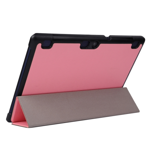 Karst Texture  3 Folding PU Leather Tablet Case for Lenovo Tab 2 A10-70 (Pink)