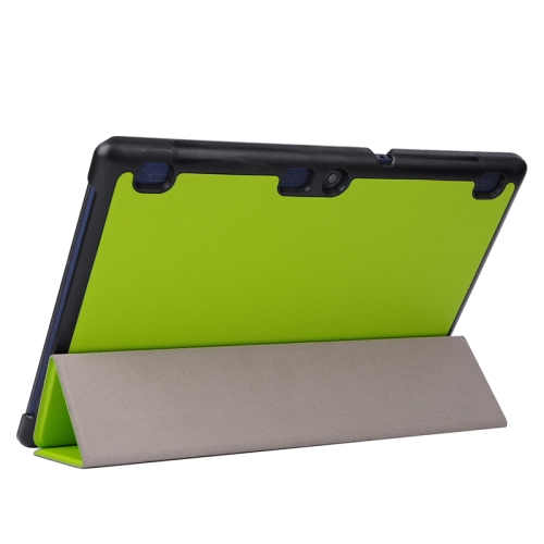 Karst Texture  3 Folding PU Leather Tablet Case for Lenovo Tab 2 A10-70 (Green)