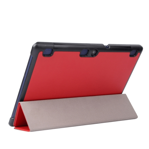 Karst Texture  3 Folding PU Leather Tablet Case for Lenovo Tab 2 A10-70 (Red)