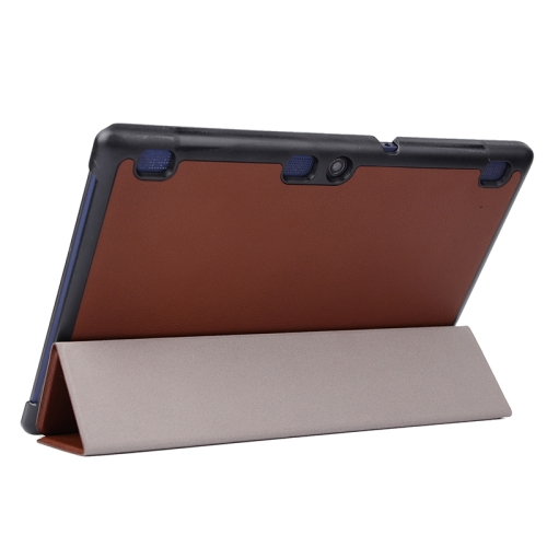 Karst Texture  3 Folding PU Leather Tablet Case for Lenovo Tab 2 A10-70 (Brown)