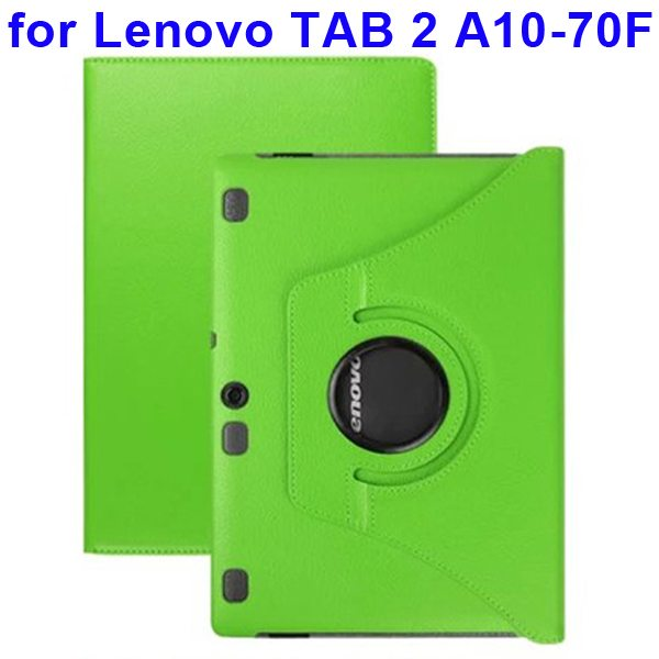 360 Degree Rotating Style Litchi Texture Leather Case for Lenovo Tab 2 A10-70F with Holder (Green)