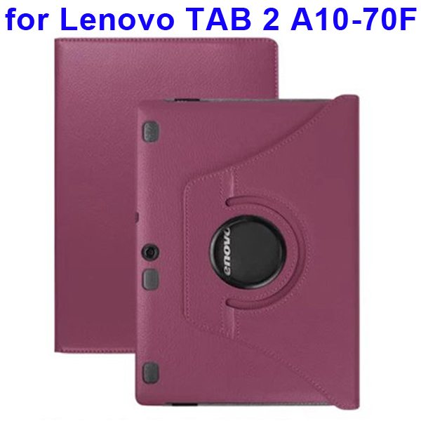 360 Degree Rotating Style Litchi Texture Leather Case for Lenovo Tab 2 A10-70F with Holder (Purple)
