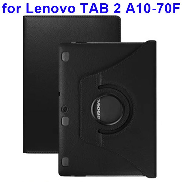 360 Degree Rotating Style Litchi Texture Leather Case for Lenovo Tab 2 A10-70F with Holder (Black)