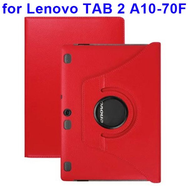 360 Degree Rotating Style Litchi Texture Leather Case for Lenovo Tab 2 A10-70F with Holder (Red)