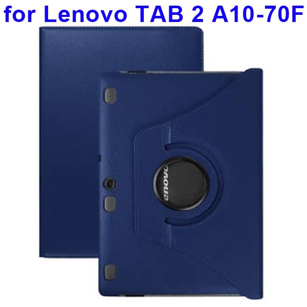 360 Degree Rotating Style Litchi Texture Leather Case for Lenovo Tab 2 A10-70F with Holder (Dark Blue)