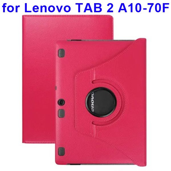360 Degree Rotating Style Litchi Texture Leather Case for Lenovo Tab 2 A10-70F with Holder (Rose)