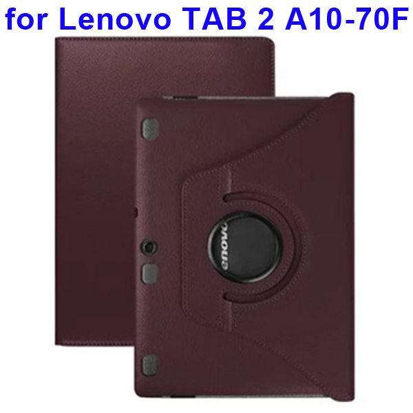 360 Degree Rotating Style Litchi Texture Leather Case for Lenovo Tab 2 A10-70F with Holder (Coffee)