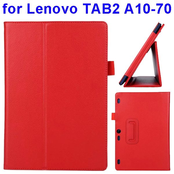 Litchi Texture Flip Leather Case for Lenovo TAB 2 A10-70 with Holder (Red)