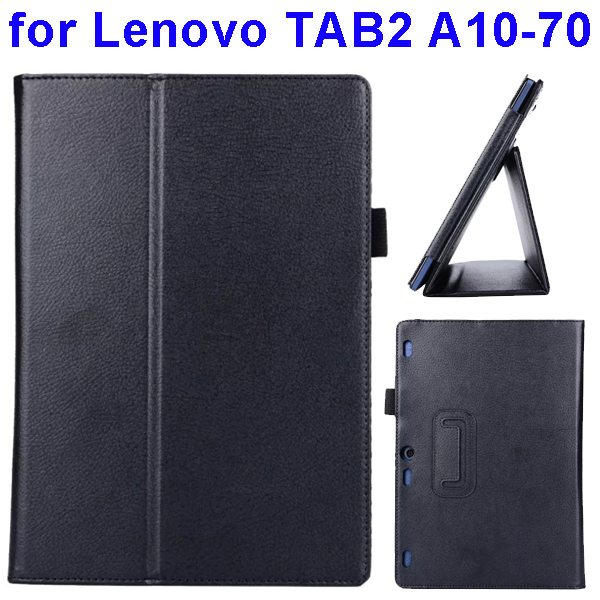 Litchi Texture Flip Leather Case for Lenovo TAB 2 A10-70 with Holder (Black)