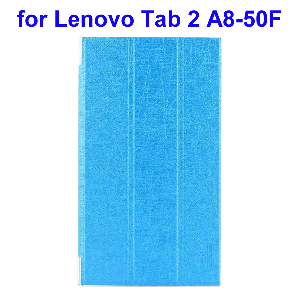 Abstract Line Surface 3 Folding PU Leather Tablet Case for Lenovo Tab 2 A8-50F (Light Blue)