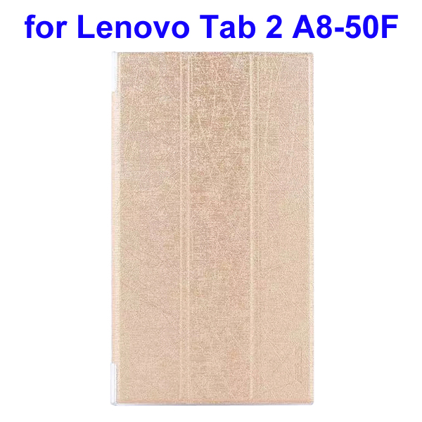Abstract Line Surface 3 Folding PU Leather Tablet Case for Lenovo Tab 2 A8-50F (Gold)