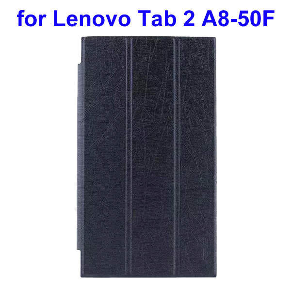 Abstract Line Surface 3 Folding PU Leather Tablet Case for Lenovo Tab 2 A8-50F (Black)