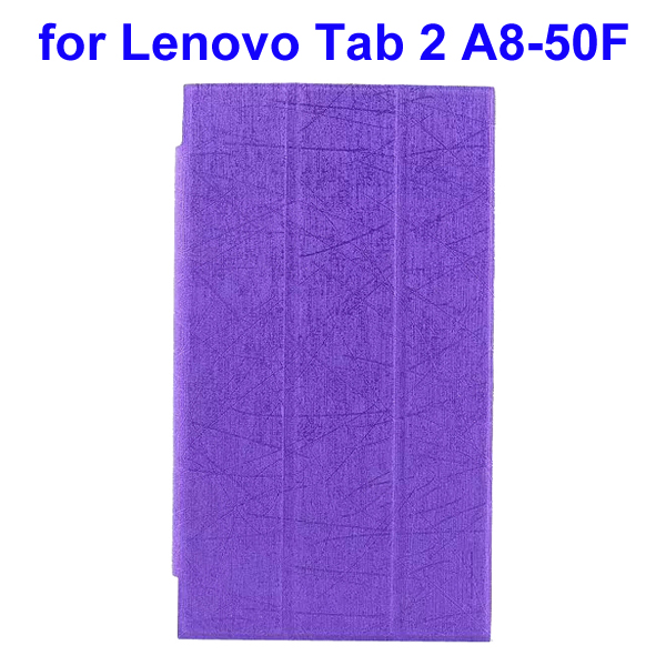 Abstract Line Surface 3 Folding PU Leather Tablet Case for Lenovo Tab 2 A8-50F (Purple)