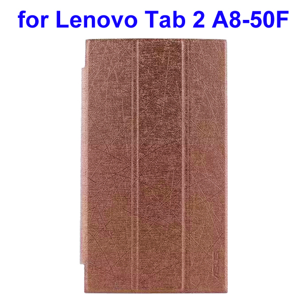 Abstract Line Surface 3 Folding PU Leather Tablet Case for Lenovo Tab 2 A8-50F (Brown)