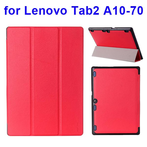 Karst Texture 3 Folding Pattern Flip Leather Case for Lenovo Tab 2 A10-70 (Red)