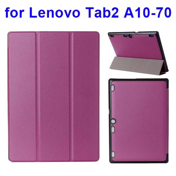 Karst Texture 3 Folding Pattern Flip Leather Case for Lenovo Tab 2 A10-70 (Purple)