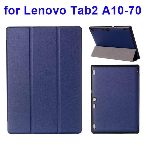 Karst Texture 3 Folding Pattern Flip Leather Case for Lenovo Tab 2 A10-70 (Dark Blue)