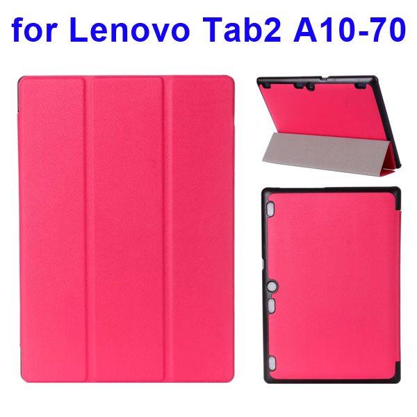 Karst Texture 3 Folding Pattern Flip Leather Case for Lenovo Tab 2 A10-70 (Rose)