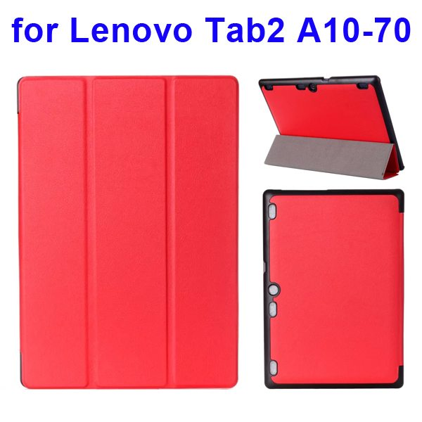Karst Texture 3 Folding Pattern Flip Leather Case for Lenovo Tab 2 A10-70 (Watermelon Red)