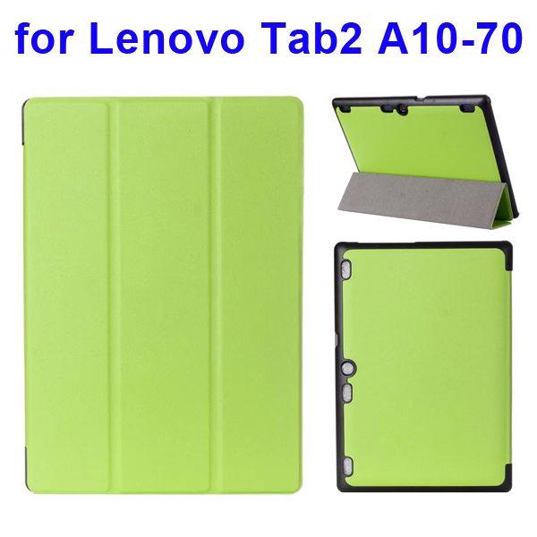 Karst Texture 3 Folding Pattern Flip Leather Case for Lenovo Tab 2 A10-70 (Green)