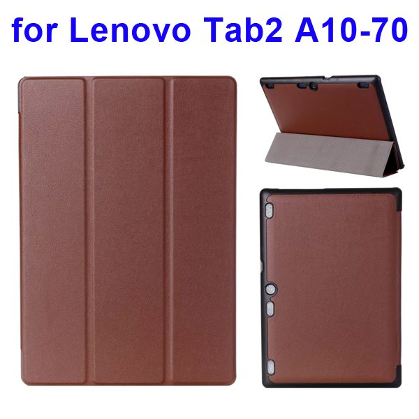 Karst Texture 3 Folding Pattern Flip Leather Case for Lenovo Tab 2 A10-70 (Brown)