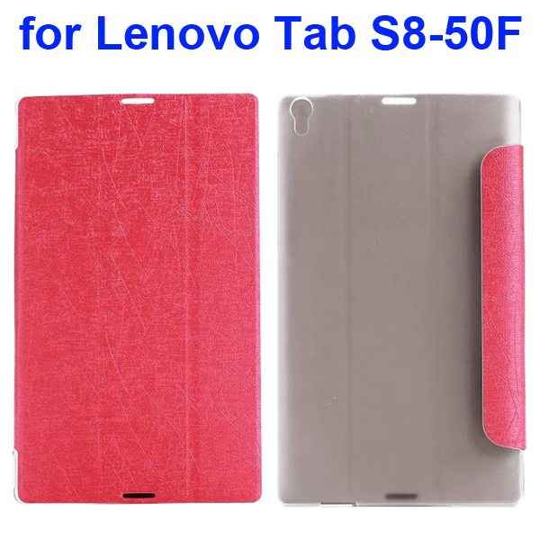 Silk Texture Three Folio Flip Leather Case for Lenovo Tab S8-50F (Red)
