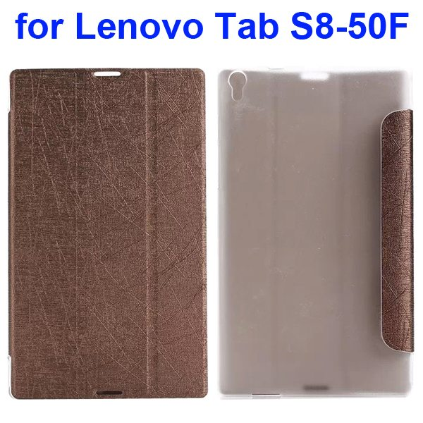 Silk Texture Three Folio Flip Leather Case for Lenovo Tab S8-50F (Brown)