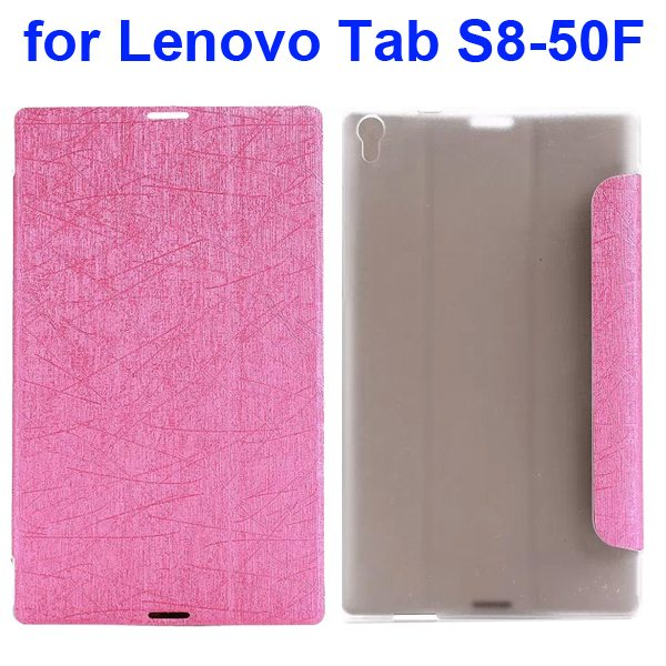 Silk Texture Three Folio Flip Leather Case for Lenovo Tab S8-50F (Pink)
