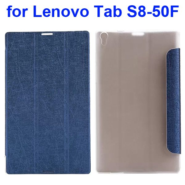 Silk Texture Three Folio Flip Leather Case for Lenovo Tab S8-50F (Dark Blue)