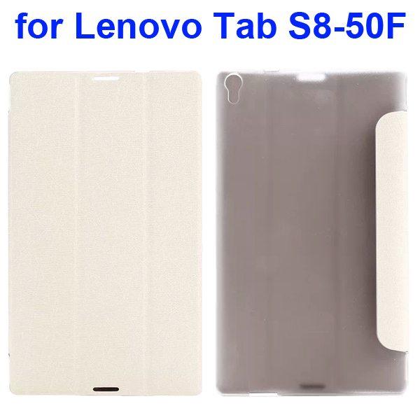Silk Texture Three Folio Flip Leather Case for Lenovo Tab S8-50F (White)