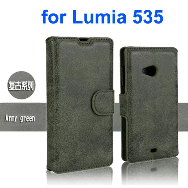 Retro Style Frosted PU Wallet Leather Flip Cover for Mircrosoft Lumia 535 (Dark Green)