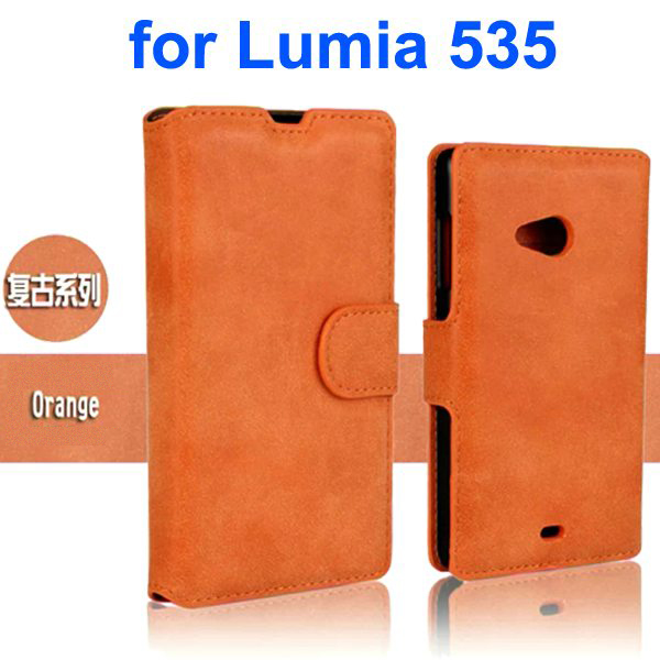 Retro Style Frosted PU Wallet Leather Flip Cover for Mircrosoft Lumia 535 (Orange)