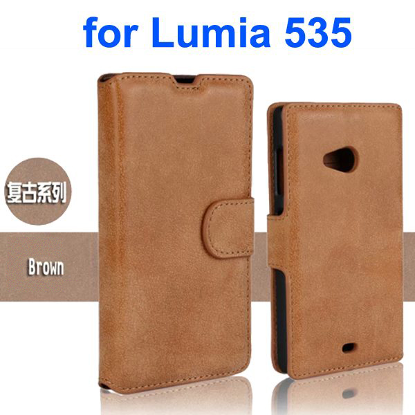 Retro Style Frosted PU Wallet Leather Flip Cover for Mircrosoft Lumia 535 (Brown)