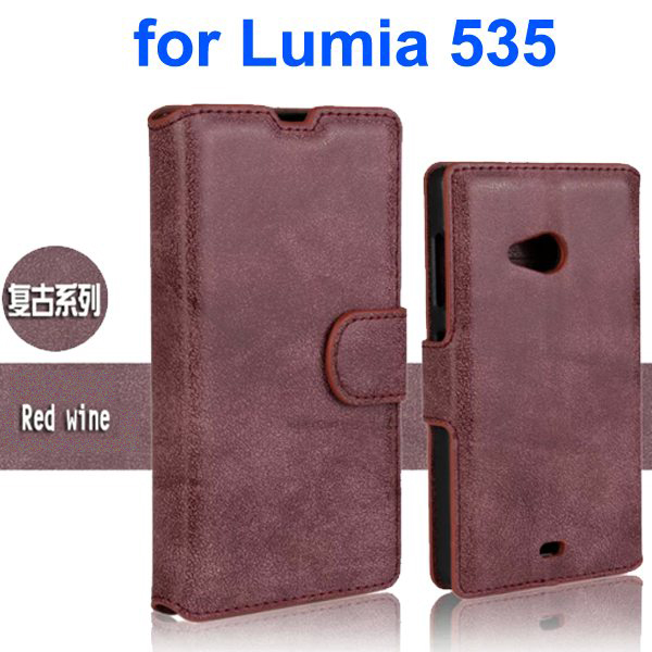 Retro Style Frosted PU Wallet Leather Flip Cover for Mircrosoft Lumia 535 (Purple)