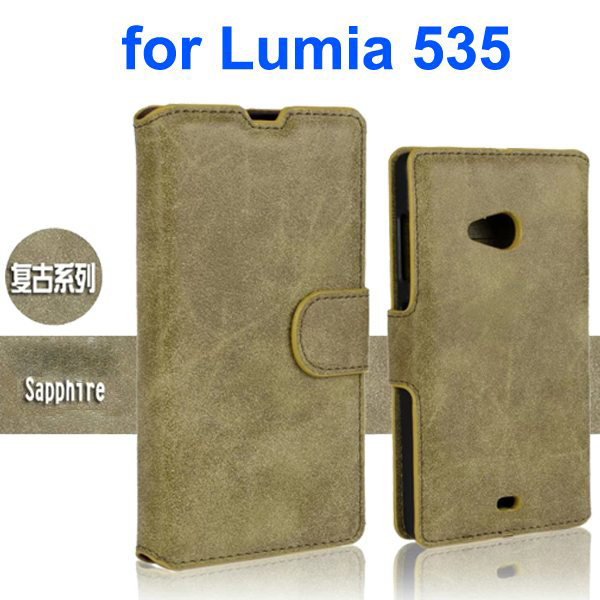 Retro Style Frosted PU Wallet Leather Flip Cover for Mircrosoft Lumia 535 (Green)