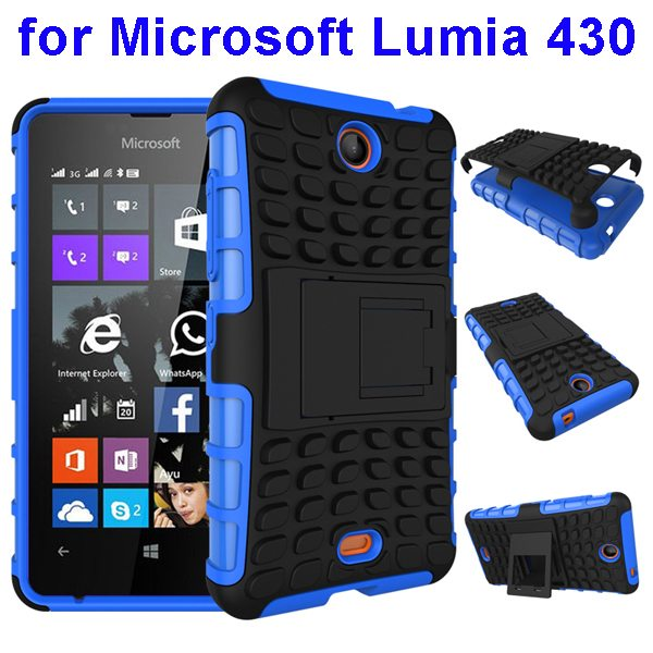 2 In 1 Pattern Silicone and PC Shockproof Hybrid Case for Microsoft Lumia 430 with Kickstand (Blue)