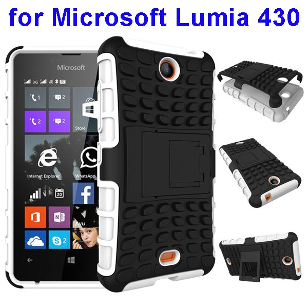 2 In 1 Pattern Silicone and PC Shockproof Hybrid Case for Microsoft Lumia 430 with Kickstand (White)