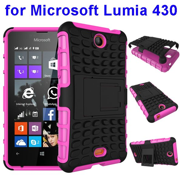 2 In 1 Pattern Silicone and PC Shockproof Hybrid Case for Microsoft Lumia 430 with Kickstand (Pink)