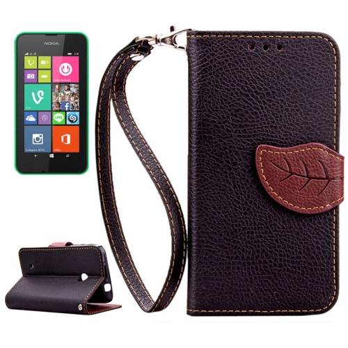 Mix Color Litchi Texture Leaf Magnetic Closure Wallet Leather Case for Nokia Lumia 530 with Lanyard (Black)