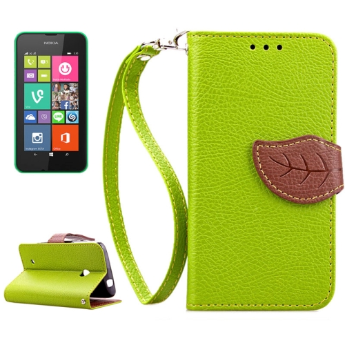Mix Color Litchi Texture Leaf Magnetic Closure Wallet Leather Case for Nokia Lumia 530 with Lanyard (Green)