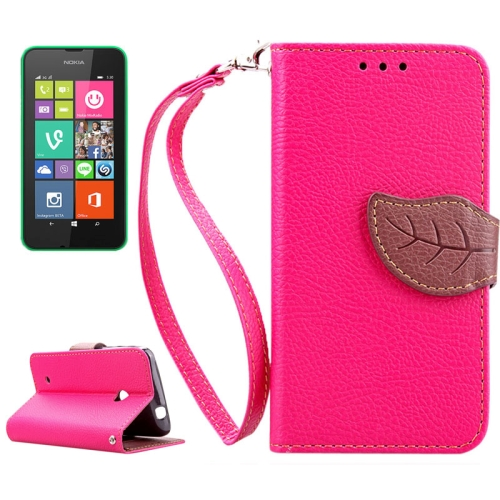 Mix Color Litchi Texture Leaf Magnetic Closure Wallet Leather Case for Nokia Lumia 530 with Lanyard (Rose)