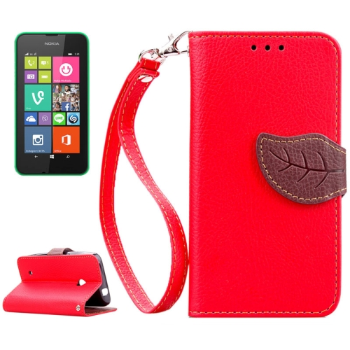 Mix Color Litchi Texture Leaf Magnetic Closure Wallet Leather Case for Nokia Lumia 530 with Lanyard (Red)