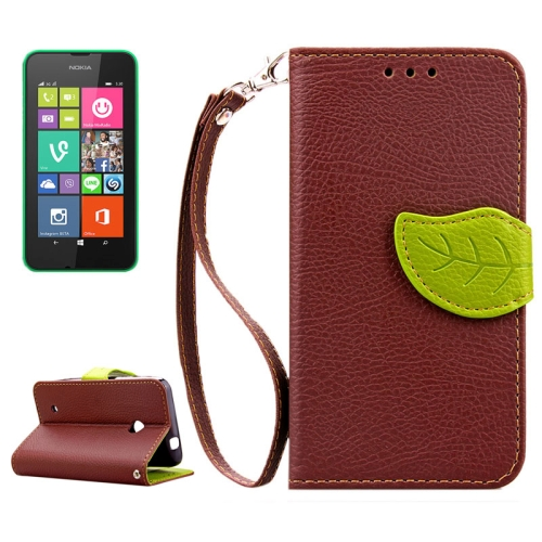 Mix Color Litchi Texture Leaf Magnetic Closure Wallet Leather Case for Nokia Lumia 530 with Lanyard (Brown)