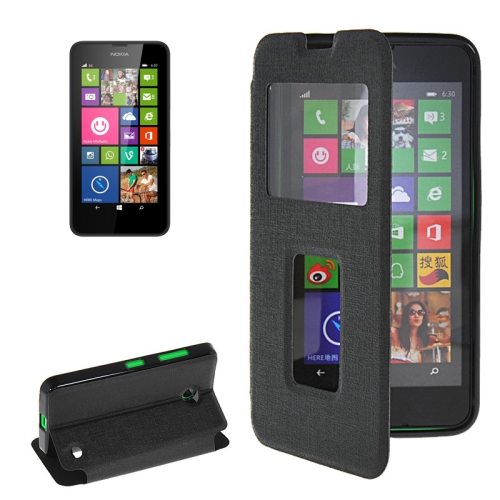 Horizontal Flip Leather Case for Microsoft Lumia 630 with Call Display ID & Holder(Black)
