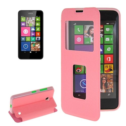 Horizontal Flip Leather Case for Microsoft Lumia 630 with Call Display ID & Holder(Pink)